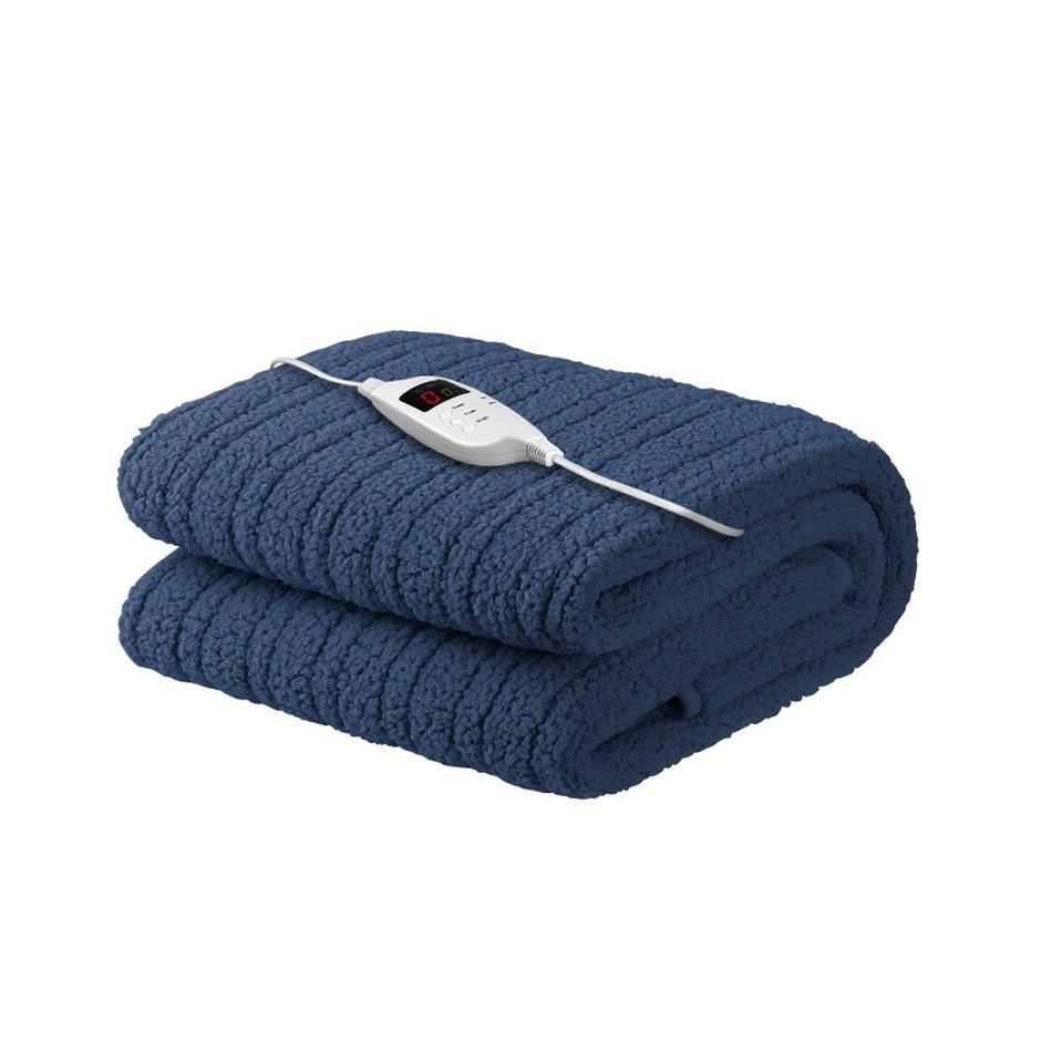 Giselle Bedding Washable Electric Heated Throw Rug Fleece Blanket Blue