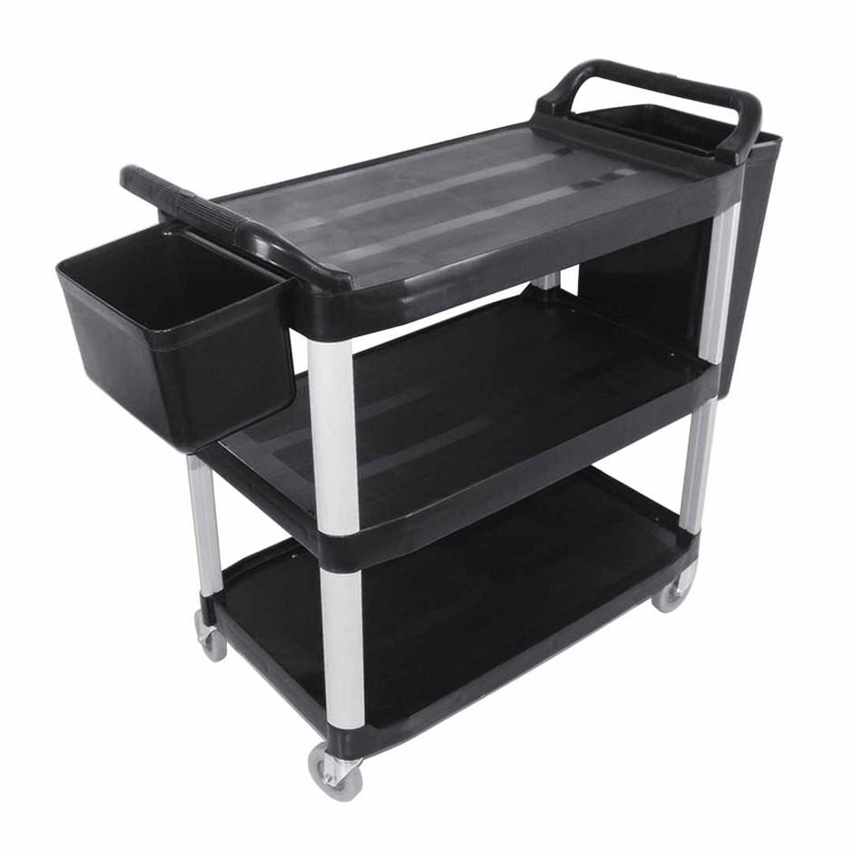 SOGA 3 Tr Food Trolley Waste Cart W/Two Bins Stge Kitchen Blk 83x43x95cm S