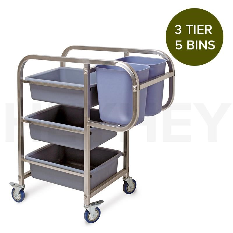 SOGA 3 Tier Food Trolley Waste Cart 5 Buckets Kitchen Utility 82x44x92cm Sq