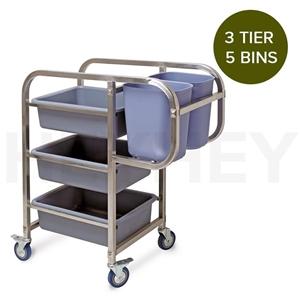 SOGA 3 Tier Food Trolley Waste Cart 5 Bu