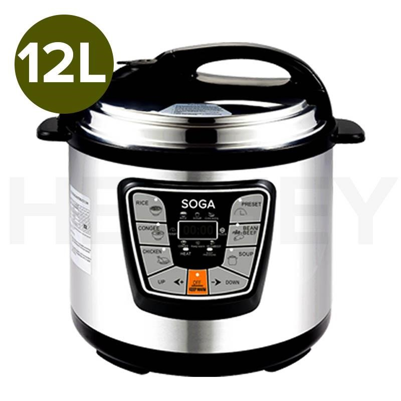 SOGA Electric Pressure Cooker 12L Stainless Steel NonStick 1000W