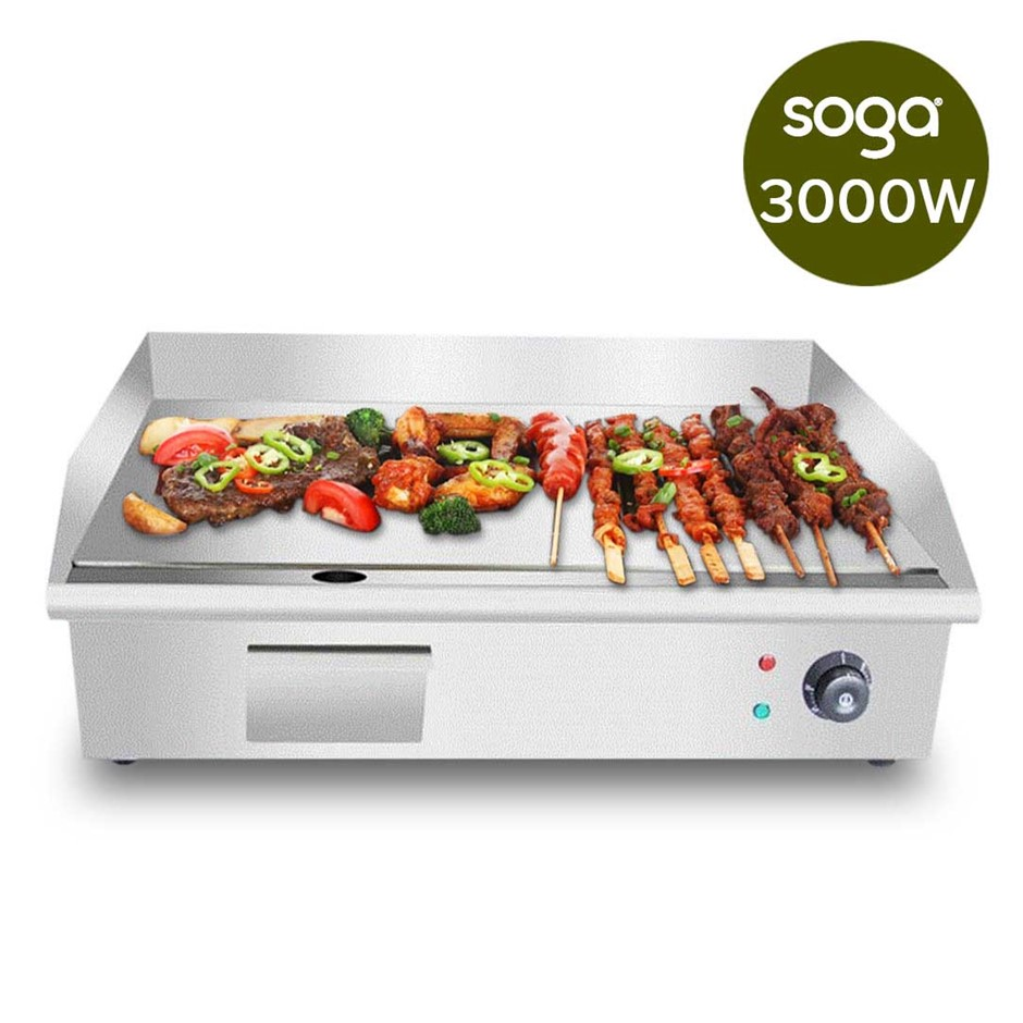 SOGA Electric Stainless Steel Flat Griddle Grill BBQ Hot Plate 3000W