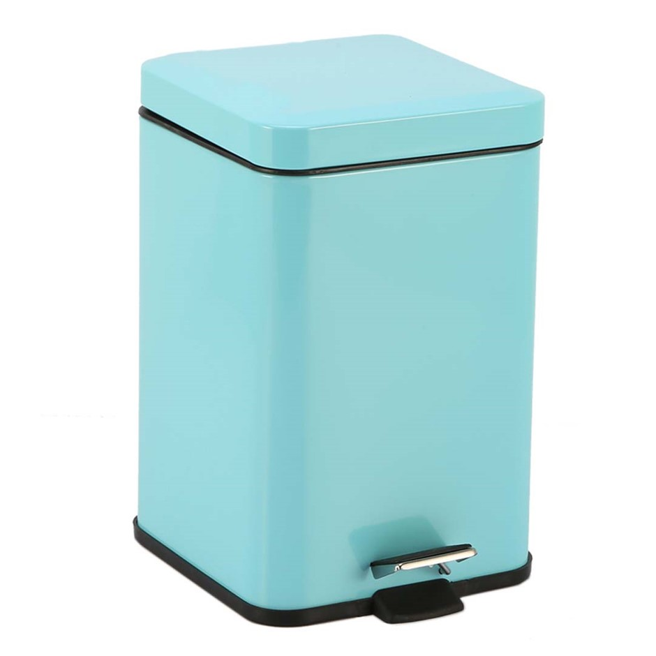 Foot Pedal Stainless Steel Garbage Waste Trash Bin Square 12L Blue
