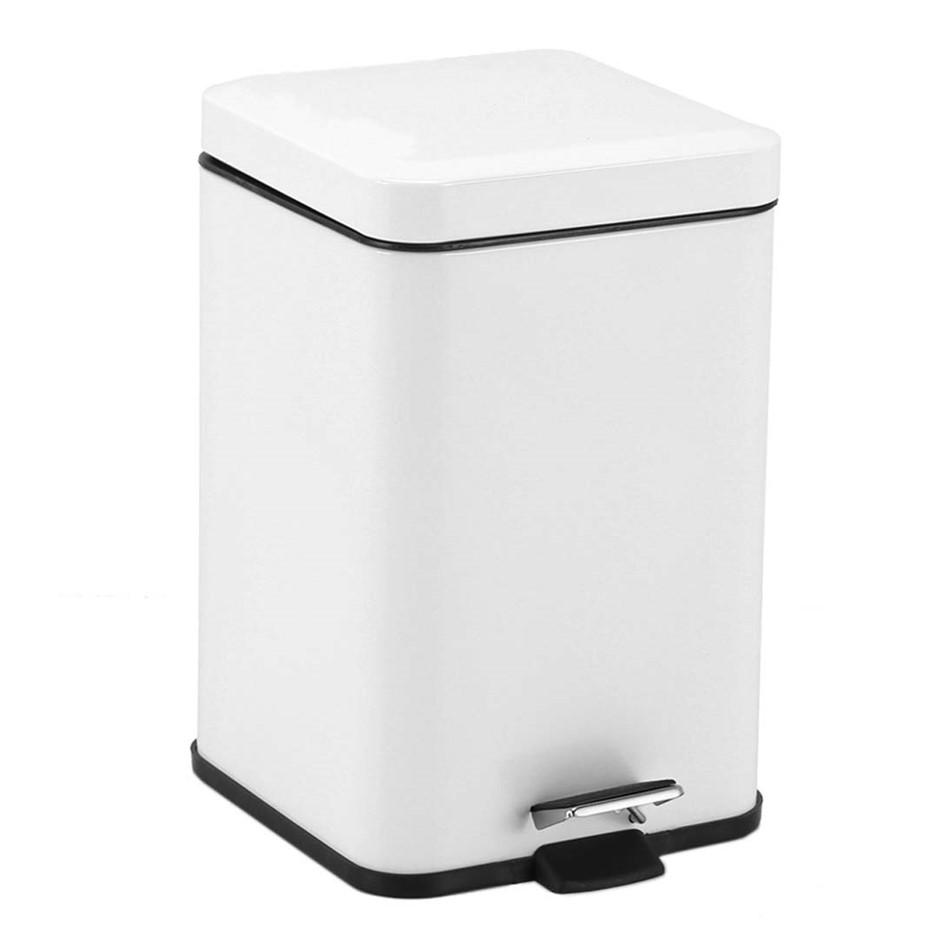 Foot Pedal Stainless Steel Garbage Waste Trash Bin Square 12L White