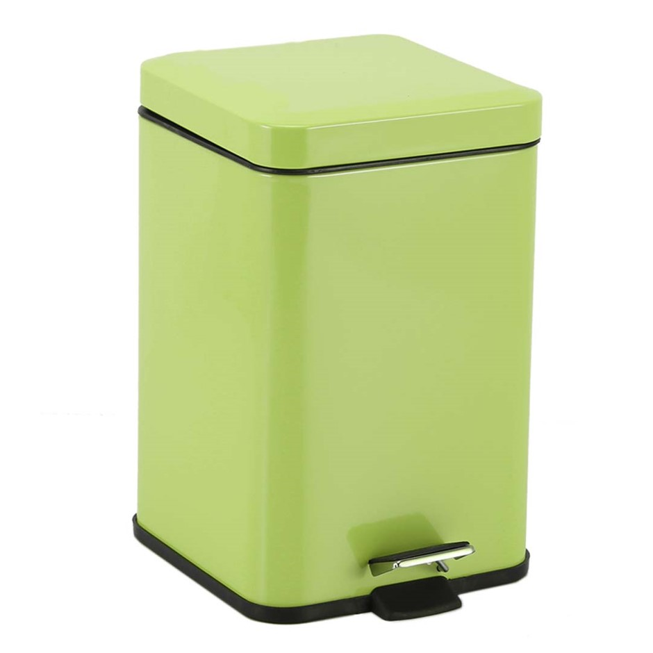 Foot Pedal Stainless Steel Garbage Waste Trash Bin Square 6L Green