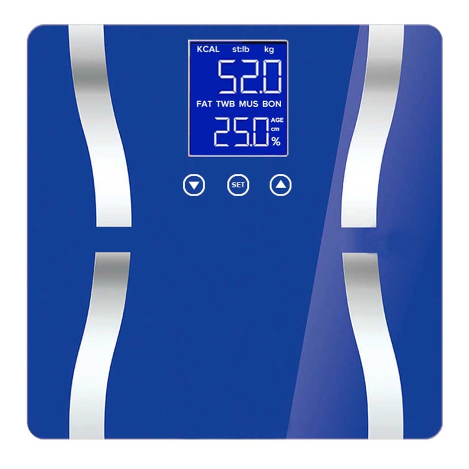SOGA Digital Body Fat Scale Bathroom Scales LCD Electronic Blue