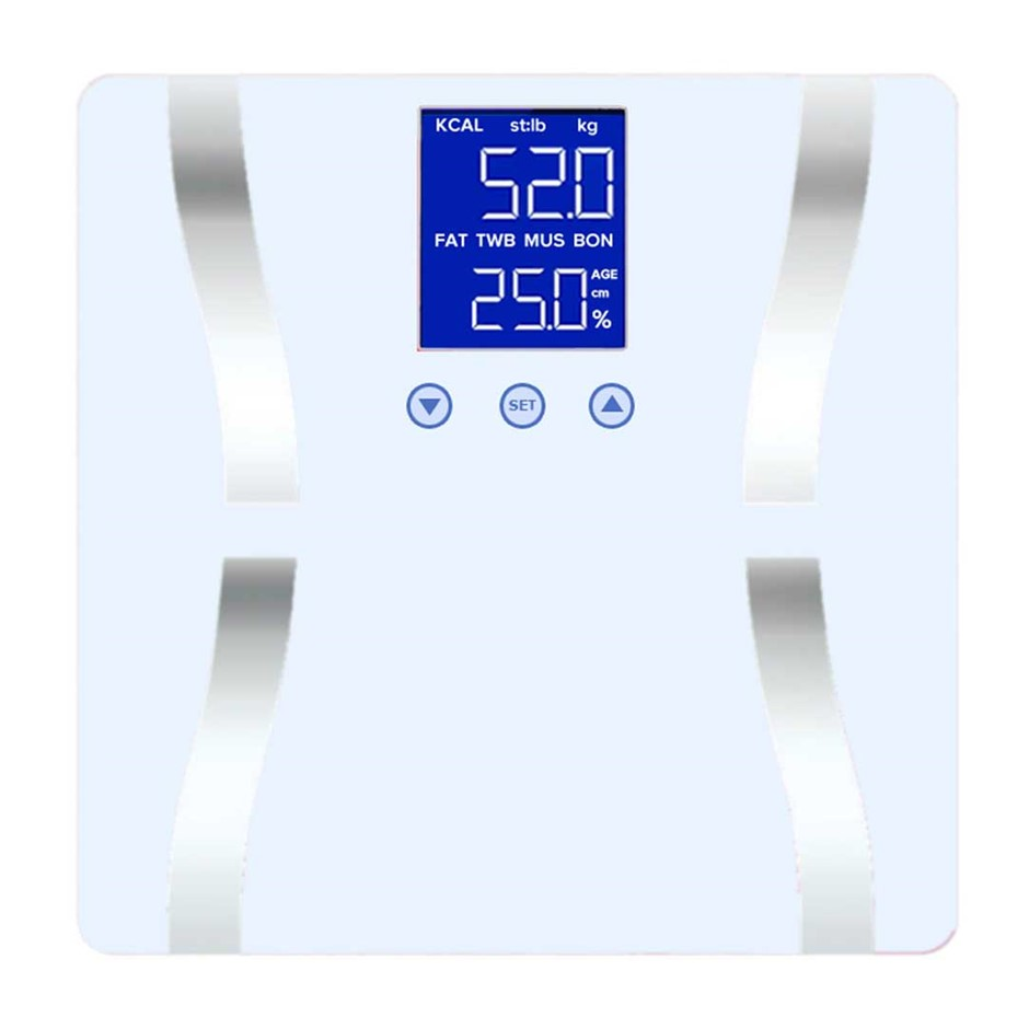 SOGA Digital Body Fat Scale Bathroom Scales LCD Electronic White