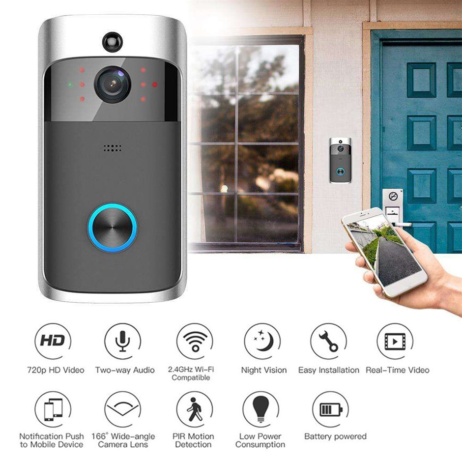 Wireless Smart Doorbell 2-Way Talk 720P HD Camera Night Vision Intercom
