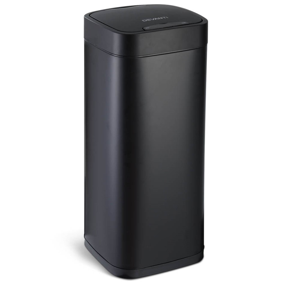 Devanti 40L LCD Sensor Bin Stainless Steel Auto Trash Can Touch Free Bins