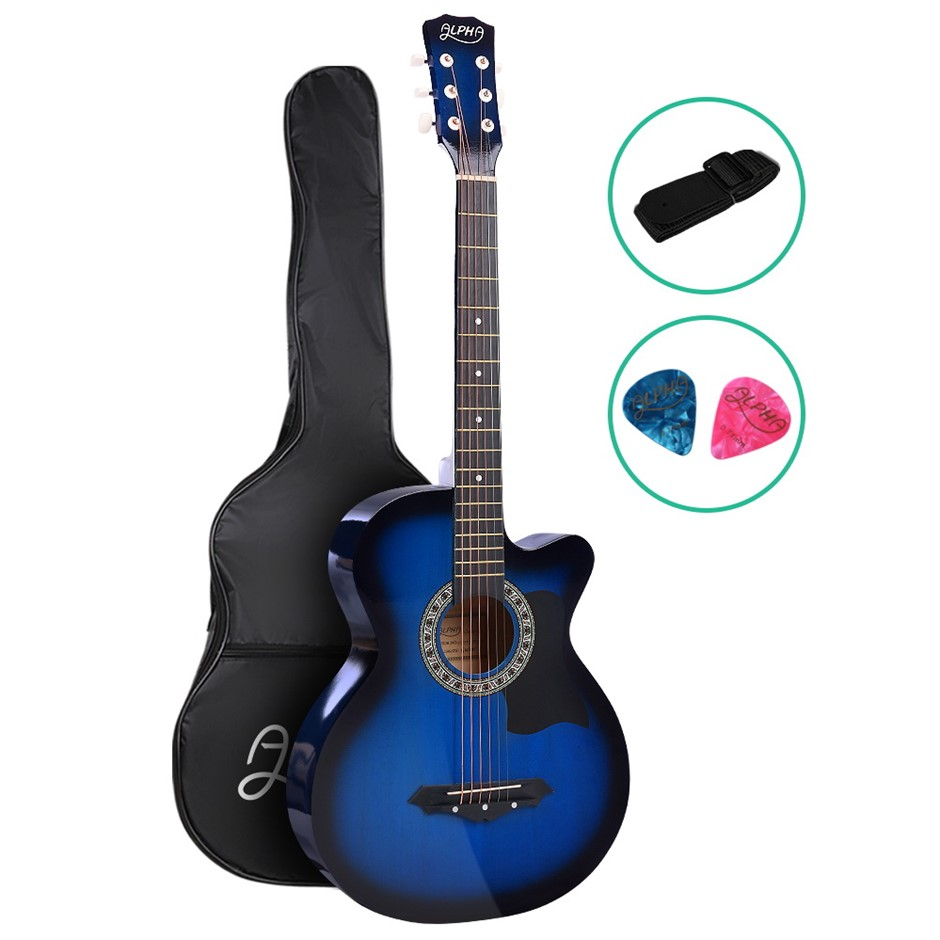 ALPHA 38 Inch Wooden Folk Acoustic Guitar Classical Steel String Blue