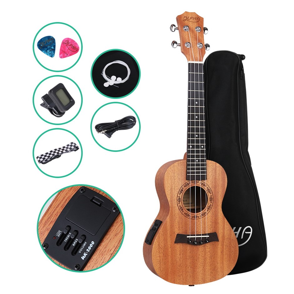 ALPHA 26 Inch Electric Tenor Ukulele Mahogany Hawaii Guitar EQ Tuner