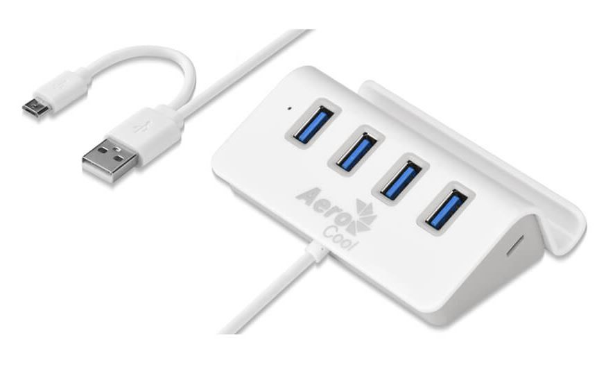 Aerocool 4 Port USB 2.0 Hub with Built-in Phone Stand