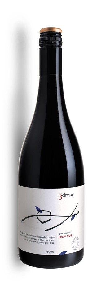 3 Drops Pinot Noir 2018 (12 x 750mL), Great Southern, WA.