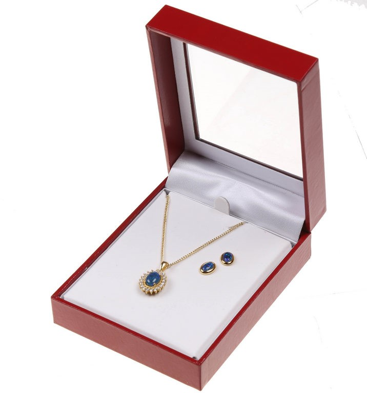 AUSTRALIAN OPAL Gold-Plated Pendant with Crystals and Stud Earring Set. Buy
