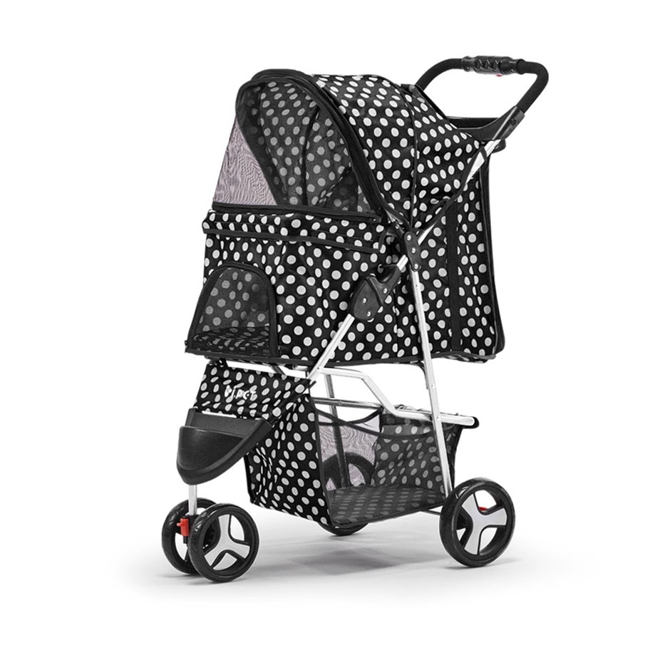 i.Pet Pet Stroller Cat Dog Cage Carrier Pushchair Foldable Pram 3 Wheels