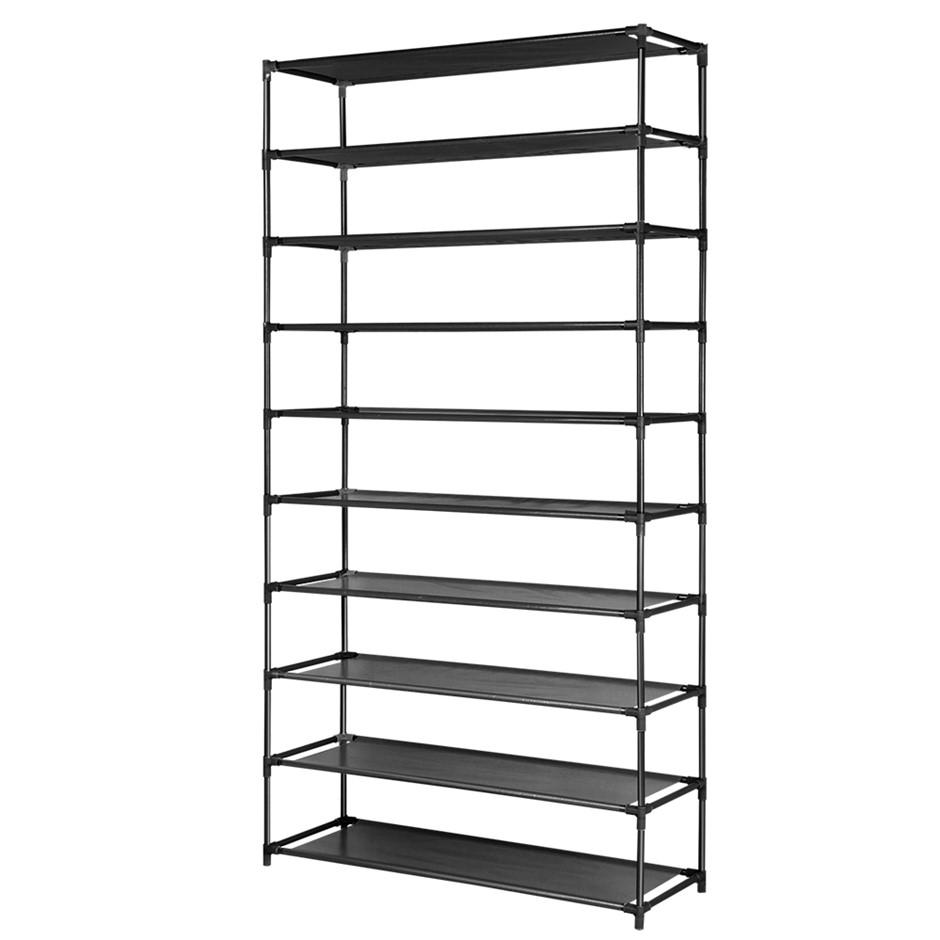 50 Pairs 10 Tier Shoe Rack Shelf Holder Portable Metal Cabinet Black
