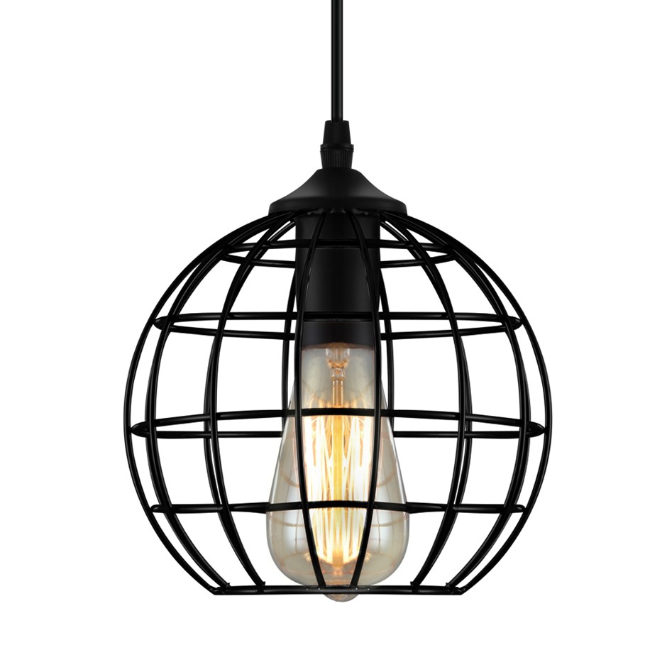 Artiss Pendant Light Modern Ceiling Metal Caged Wire Lamp Home Black