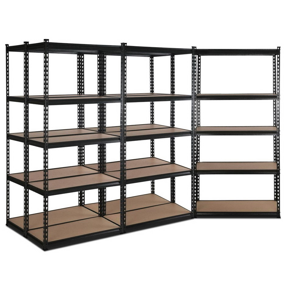 Giantz 5x90CM Steel Warehouse Shelving Racking Garage Storage Rack Black