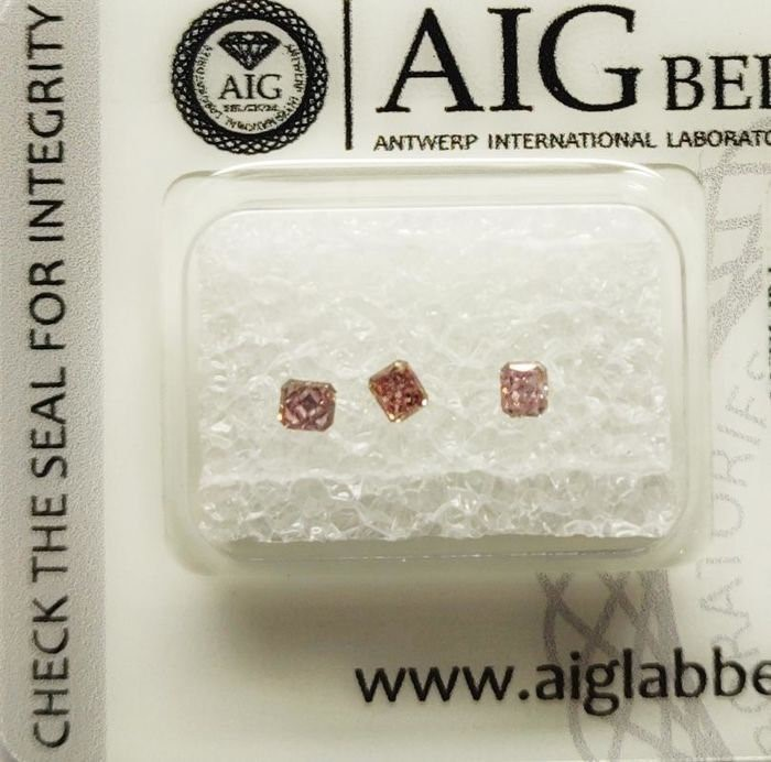Three Loose AIG Pink Diamond 0.23ct in Total