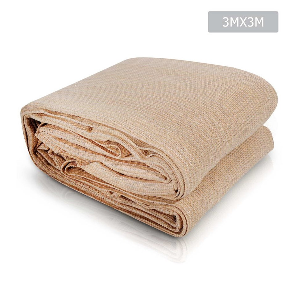 Instahut Sun Shade Sail Cloth Canopy Sand Beige 280gsm 3x3m Summer