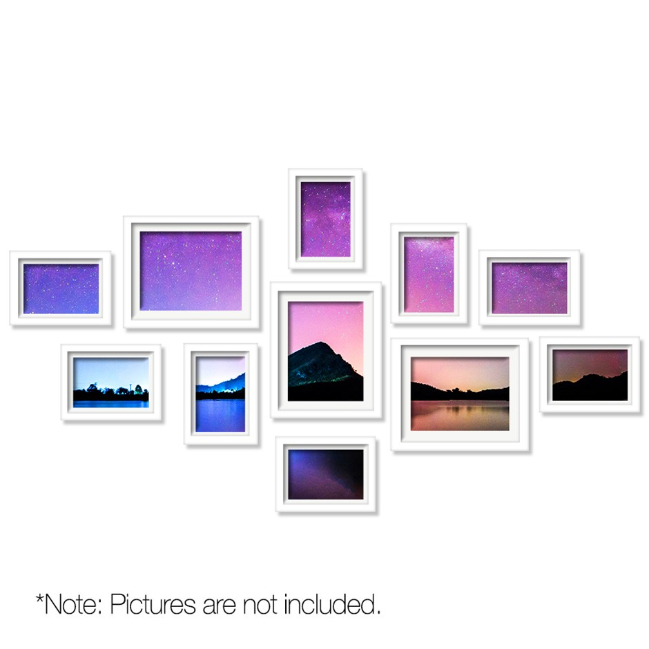 11 Piece Photo Frames Set - White
