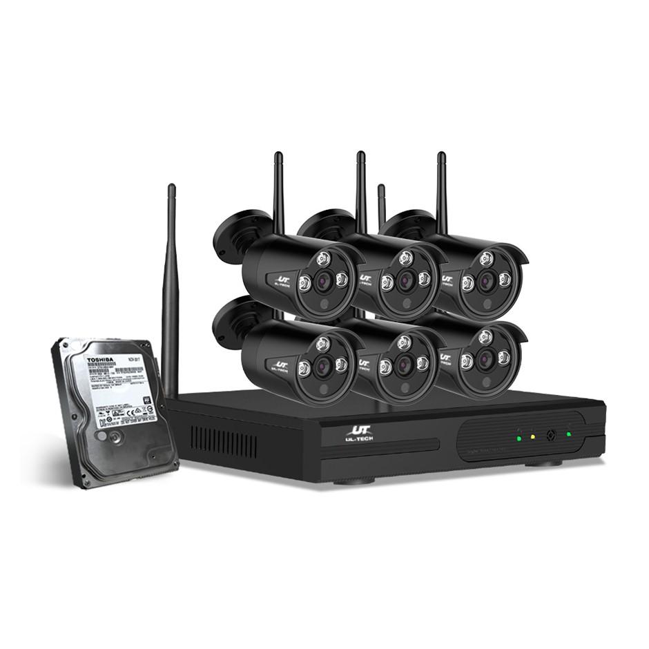 UL Tech CCTV Wireless Security System 2TB 8CH NVR 1080P 6 Camera Sets