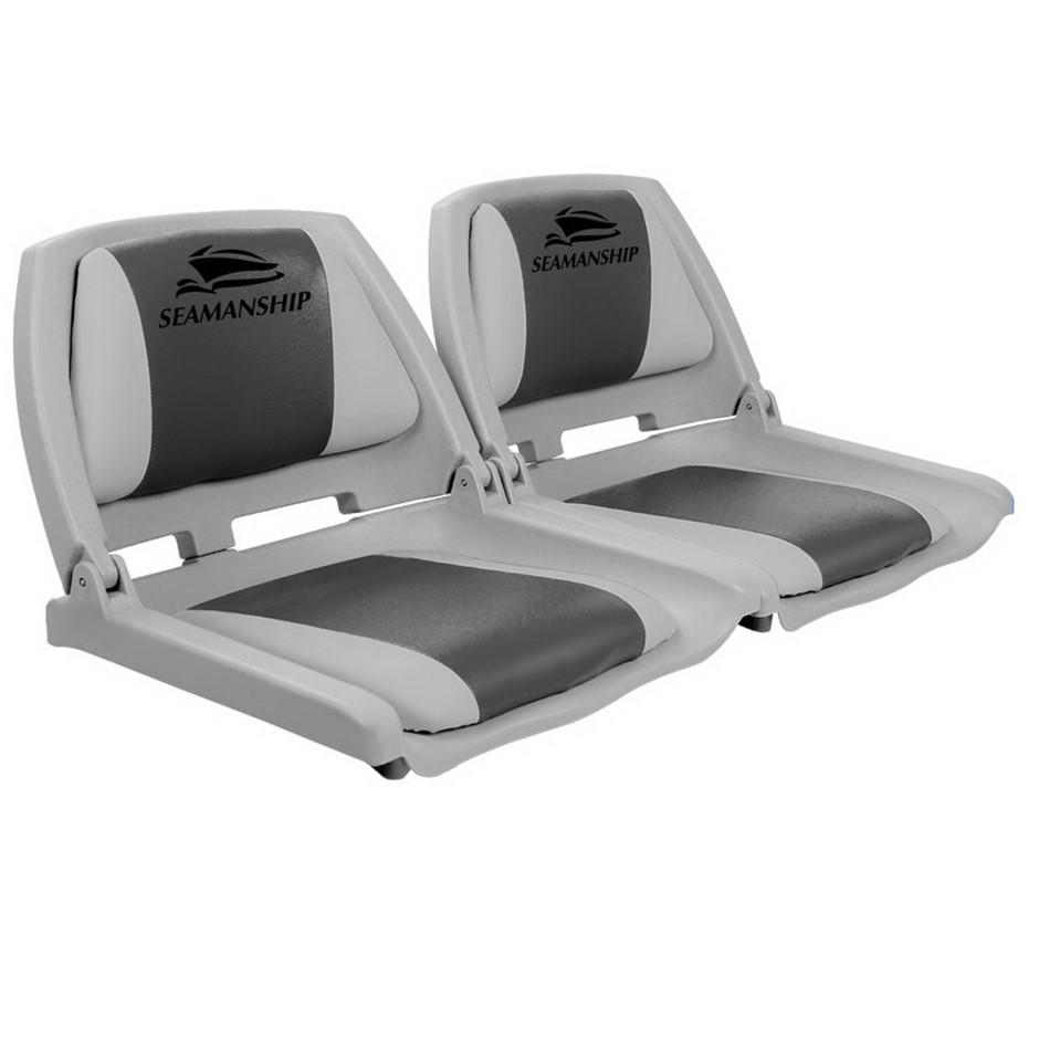 Seamanship Set of 2 Folding Swivel Boat Seats - Grey & Charcoal