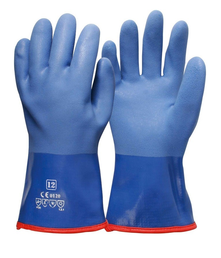 12 x Pairs PVC Coated Triple Dip Gloves, Size XL, Fleece Lining, Sandy Fini