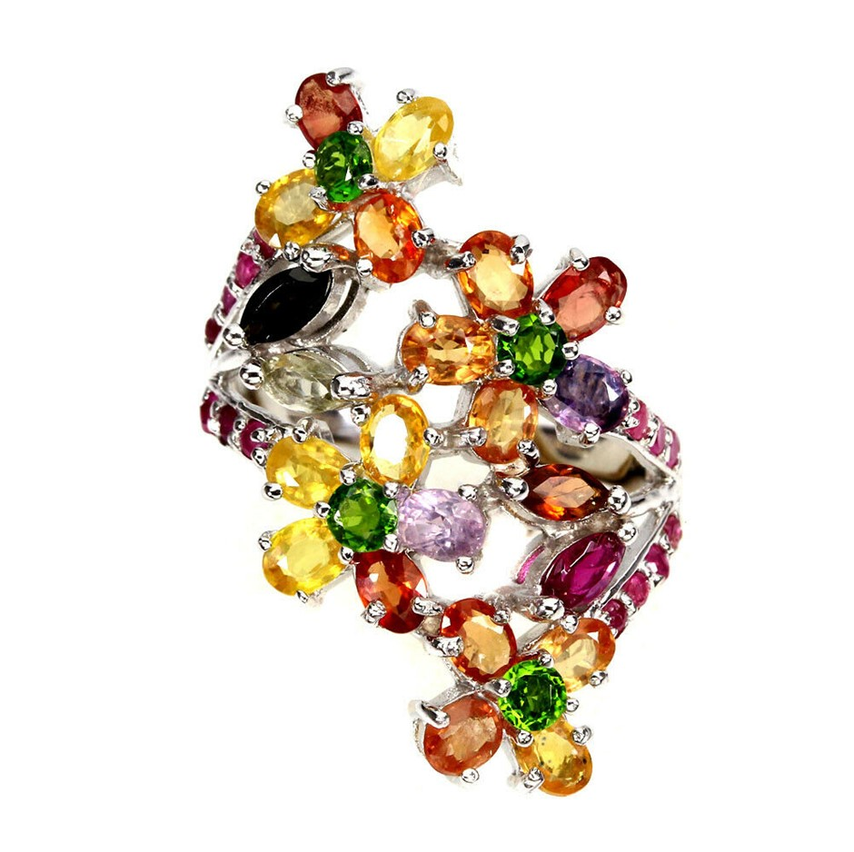 Lovely Sapphire Chrome Diopside & Ruby Ring. Size 'R'.