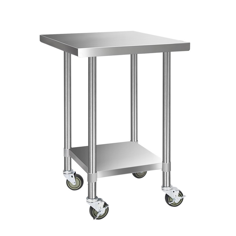 Cefito 760x760mm Commercial Stainless Steel Kitchen Bench Table w/ wheels