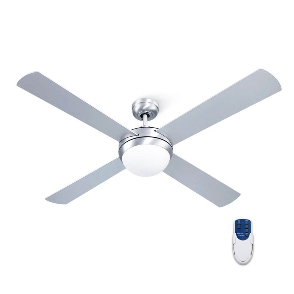 "Devanti 52"" 1300mm Ceiling Fan Brushed Aluminum 4 Blades w/Light Remote"