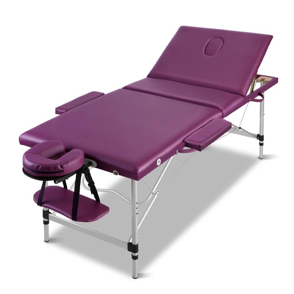 Zenses 3 Fold Portable Aluminium Massage Table Massage Therapy Purple 75cm