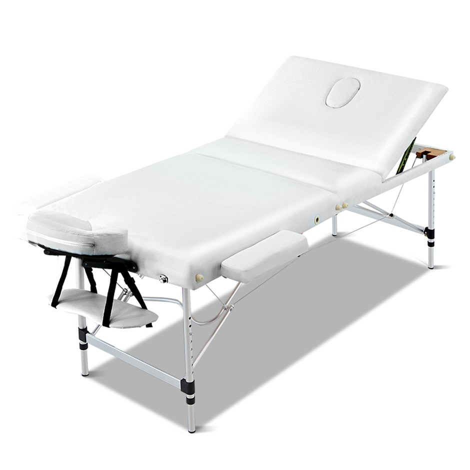 Zenses 70cm Portable 3 Fold Aluminium Massage Table Therapy Bed White