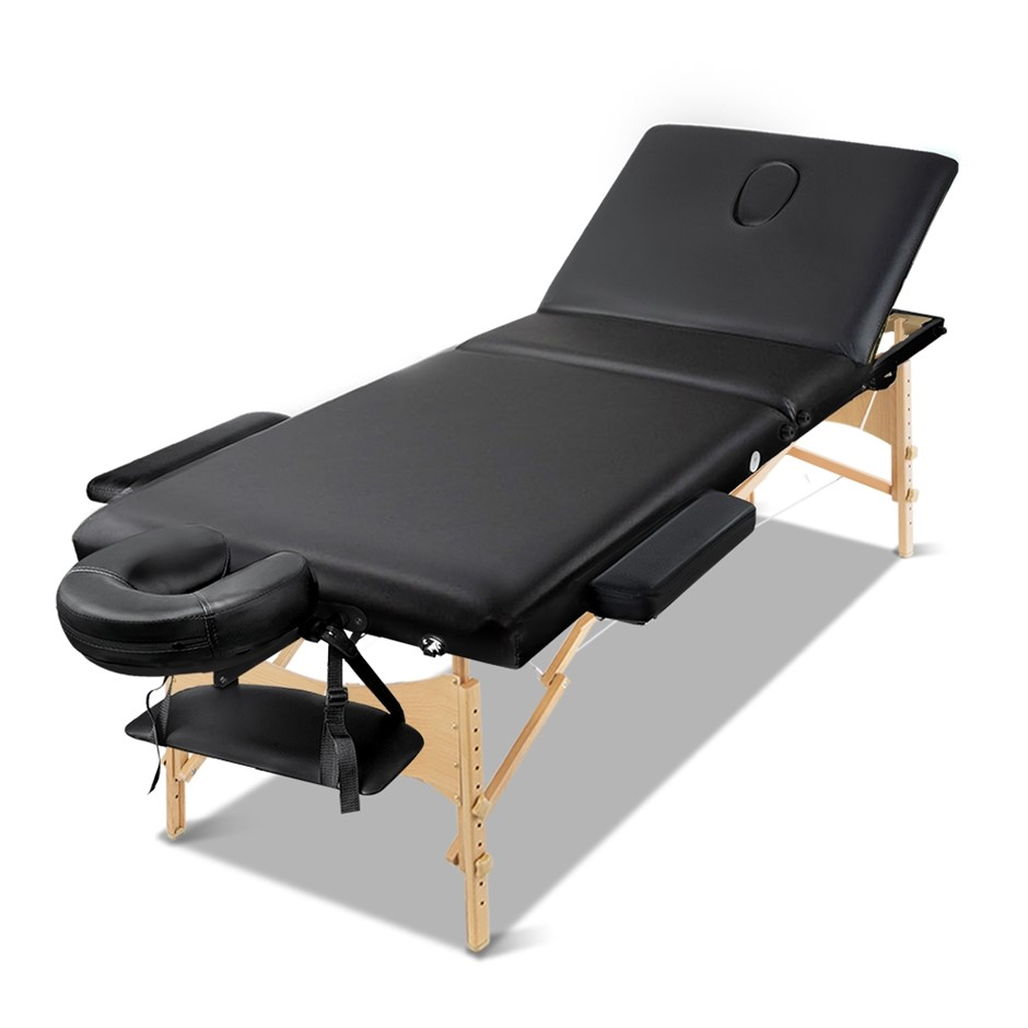 Zenses Wooden Portable Massage Table 3 Fold Beauty Therapy Bed 60CM BLACK