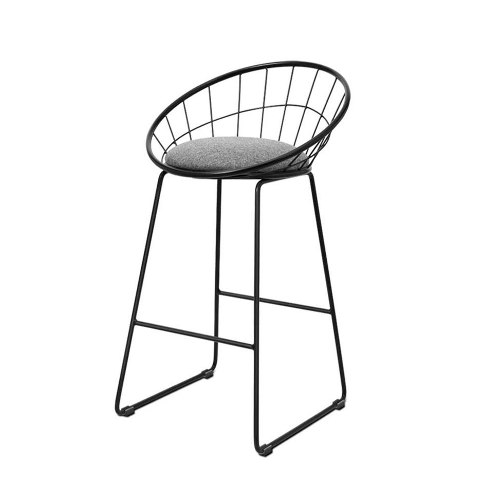 Artiss 2x Nordic Bar Stools Metallic Bar Stool Kitchen Fabric Grey Black