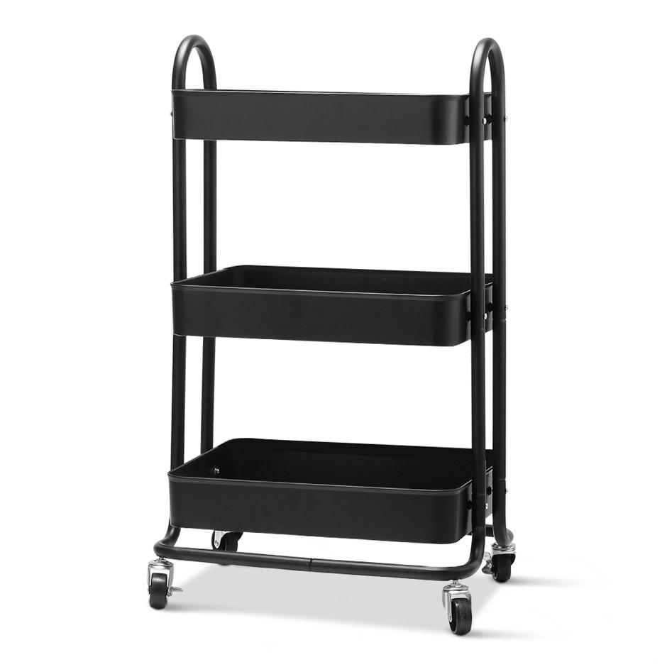 Artiss 3 Tier Kitchen Trolley Storage Cart Portable Rolling Shelf Wheels