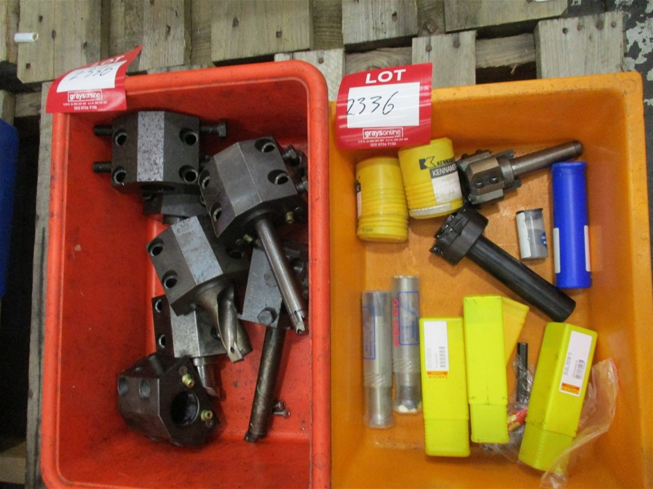 2 x Plastic Tubs of Assorted Cutting Tools and Holders