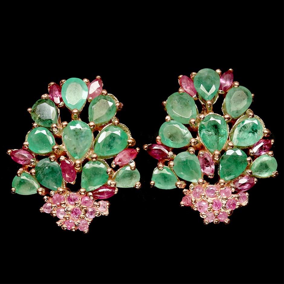 Striking Genuine Emerald & Ruby Rose Gold Stud Earrings