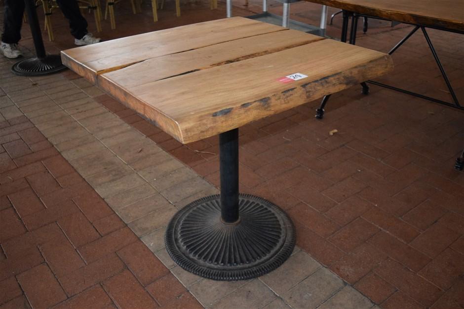 "African Hardwood Lacquered ""Blonde Wood"" Table on Cast Pedestal Base"