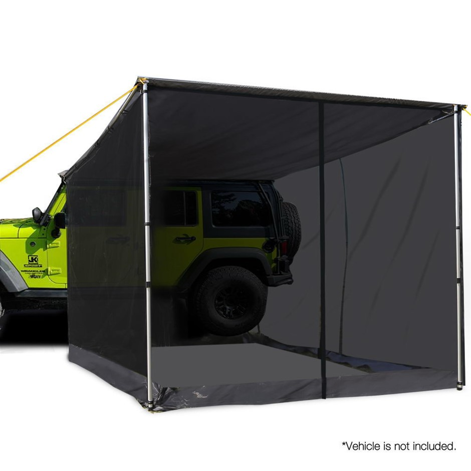 Weisshorn Car Shade Awning & mesh Screen 2.5 x 3m - Grey