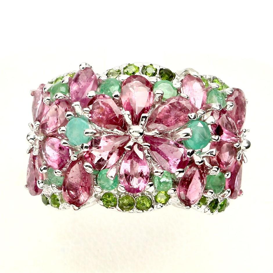 Gorgeous Genuine Emerald & Tourmaline Ring.