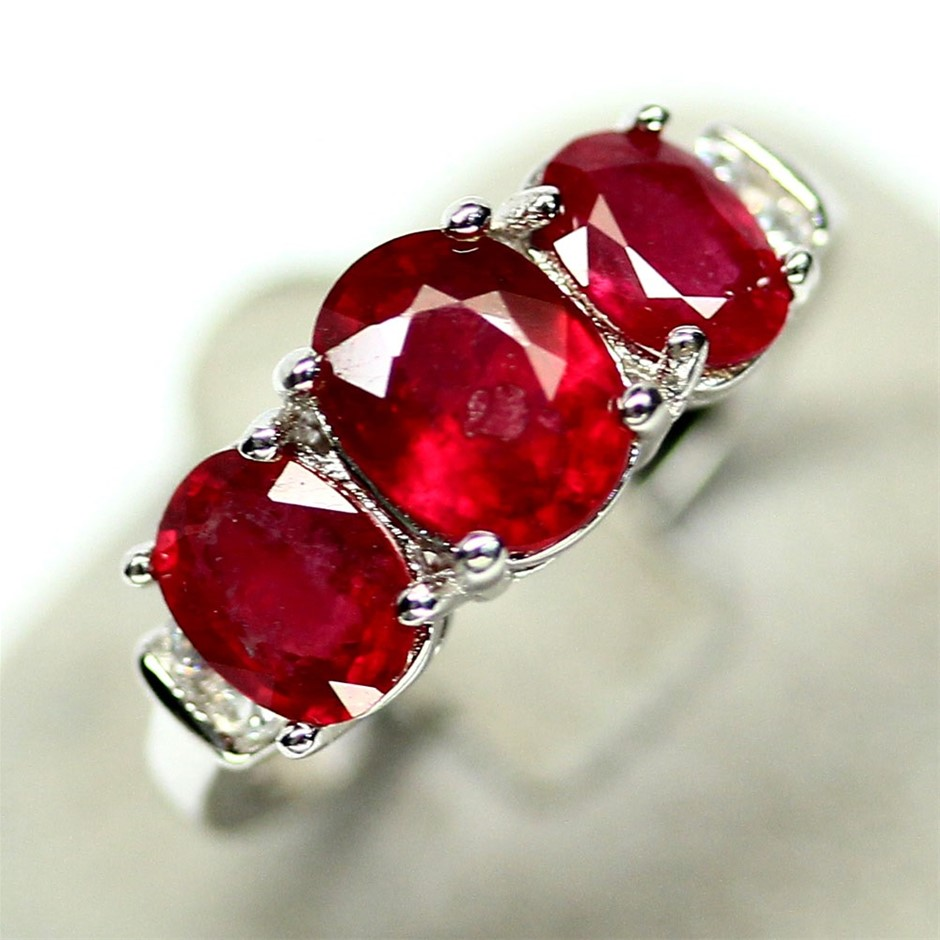 Stunning Genuine Ruby Trilogy Ring.