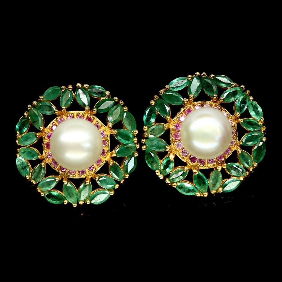 Beautiful Genuine Pearl, Emerald & Ruby Stud Earrings