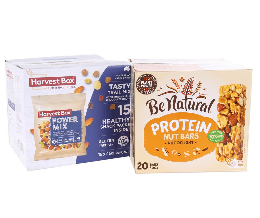 14 x HARVEST BOX Power Mix 45g & 19 x BE NATURAL Protein Nut Bars. N.B. 1 I