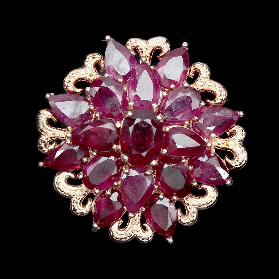 Stunning Genuine Blood Red Ruby Rose Gold Brooch