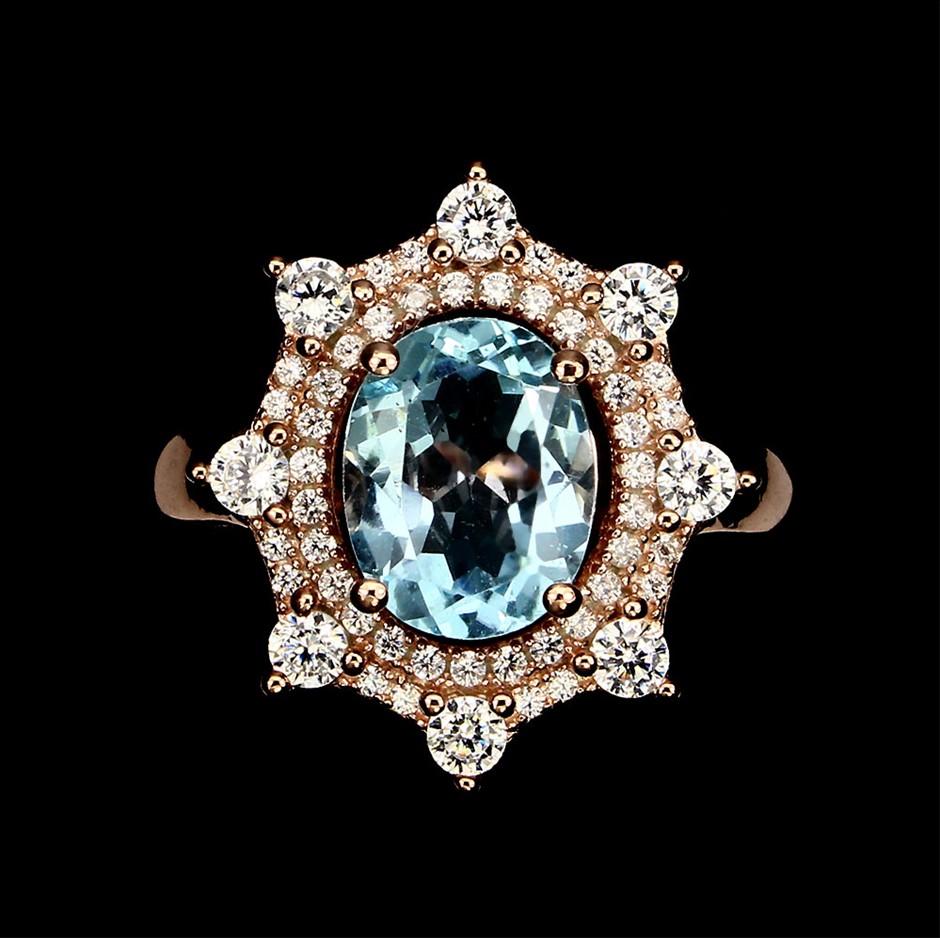 Striking Genuine Topaz Rose Gold Ring.