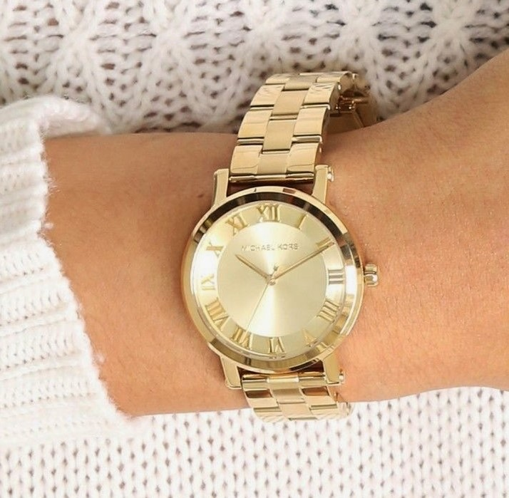 New Michael Kors NY 'Norie' classy/classic two tone gold watch,
