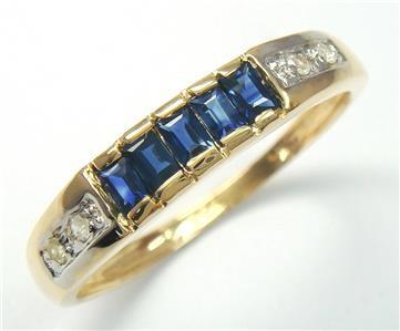 Genuine Diamond & Sapphire 9K Gold Ring