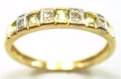 Genuine Diamond & Peridot 9K Gold Band Ring.
