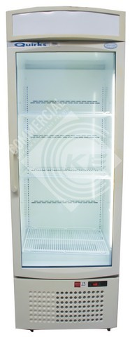 QUIRKS BY SANYOU UPRIGHT SINGLE GLASS DOOR FRIDGE, QUALITY COMMERCI